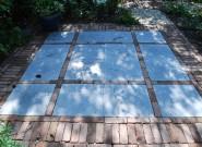 Terras: Blokken van 4 tegels met streklaag